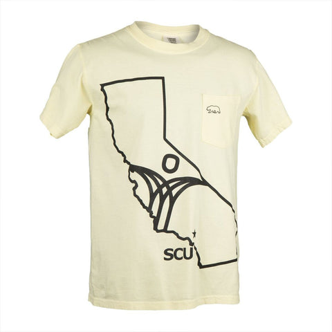 Pocket Tee - SCU Cali outline - Yellow