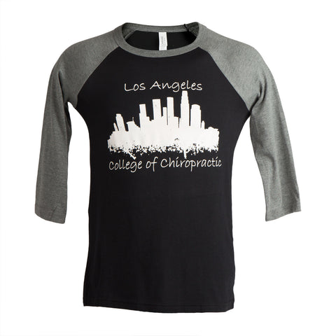 LACC Baseball Tee Black and Heather Grey