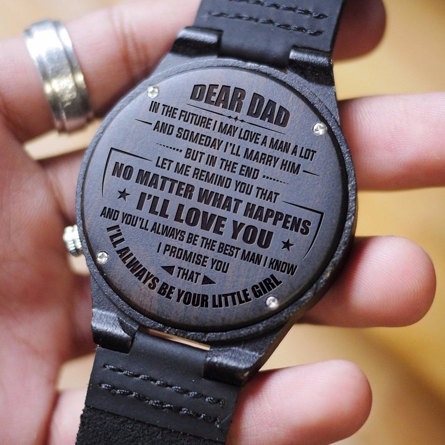 daughter to dad the best man engraved wood watch laken style