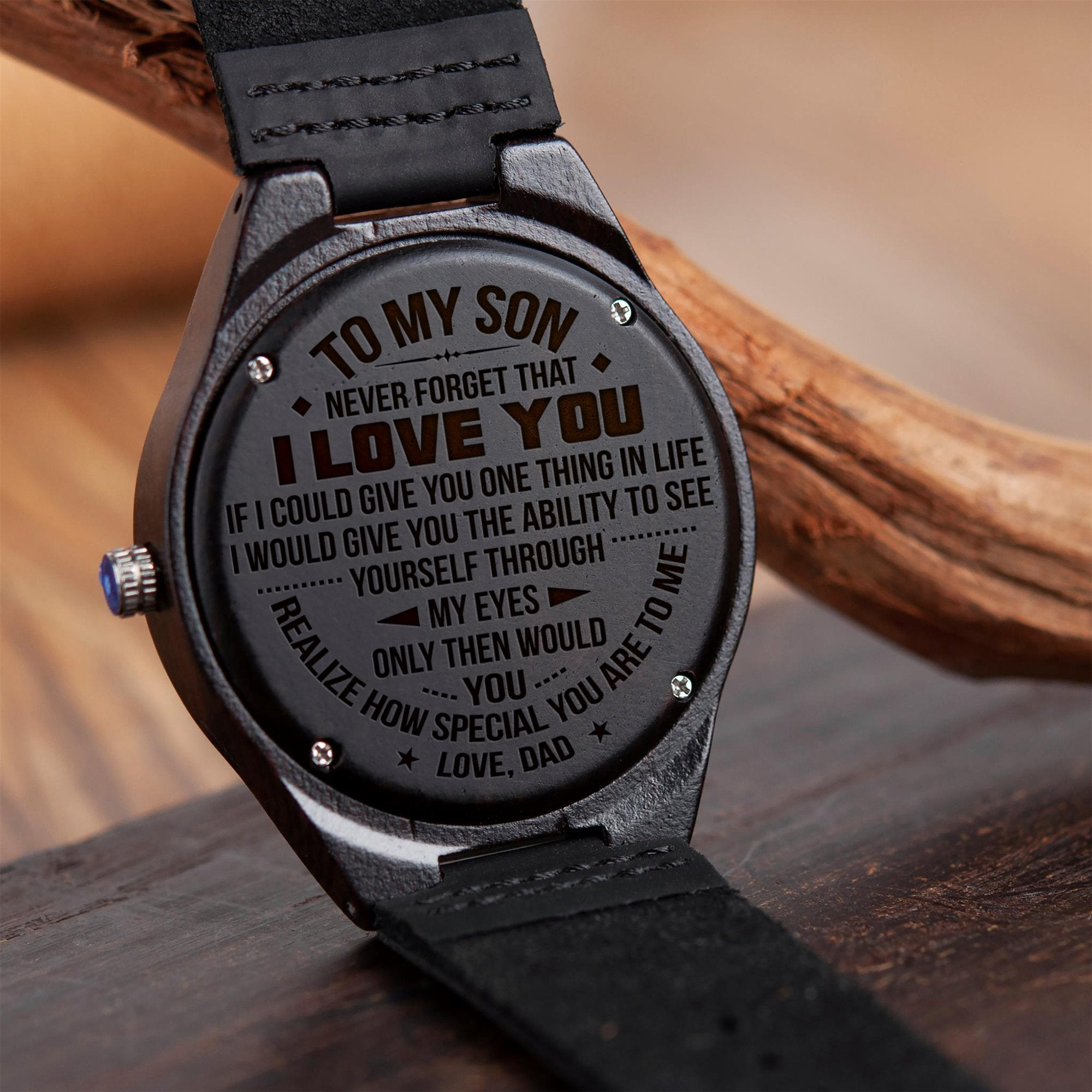 5336277a8d1c9 Dad to Son - I Love You - Engraved Wood Watch - Laken Style