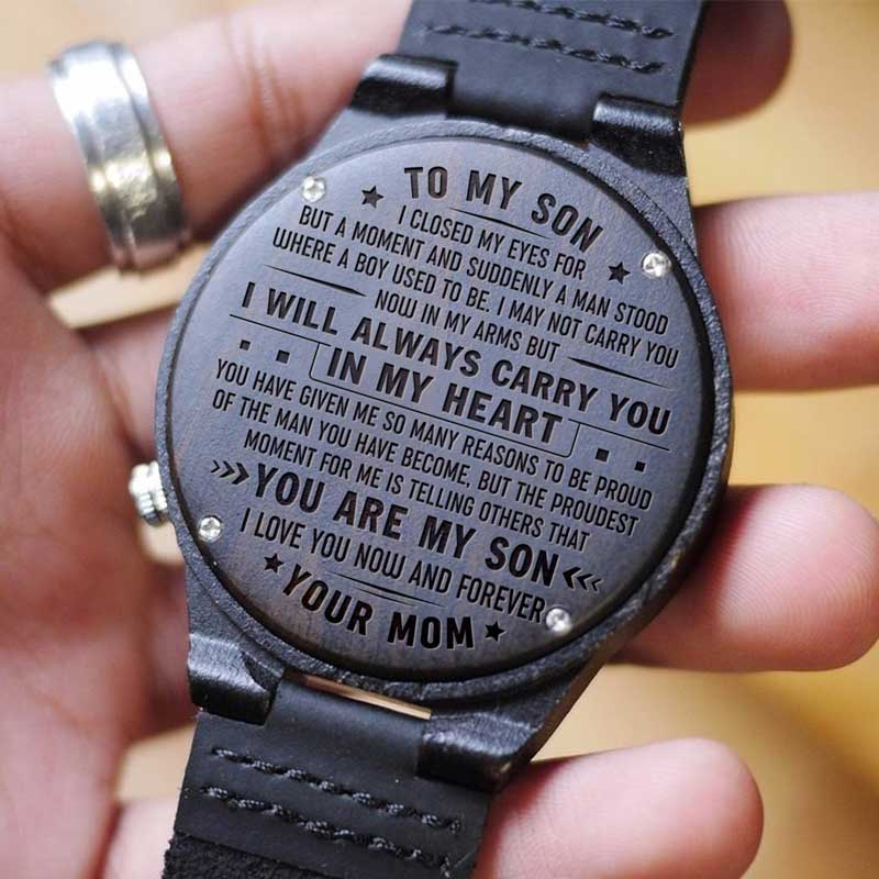 Mother To Son I Will Always Carry You Engraved Wood Watch