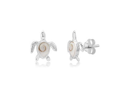Turtle Post Earrings, Sterling Silver w/ Shiva Shell