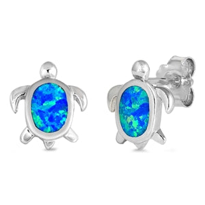 Turtle Post Earrings, Sterling Silver w/ Blue Opal