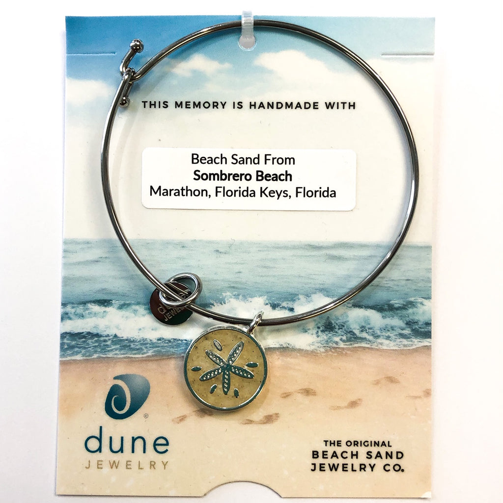 Dune Beach Sand Bangle, Silver Sand Dollar, Sombrero Beach