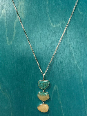 Triple Drop Long Necklace, Sterling Silver w/ Turquoise & Sombrero Beach Sand