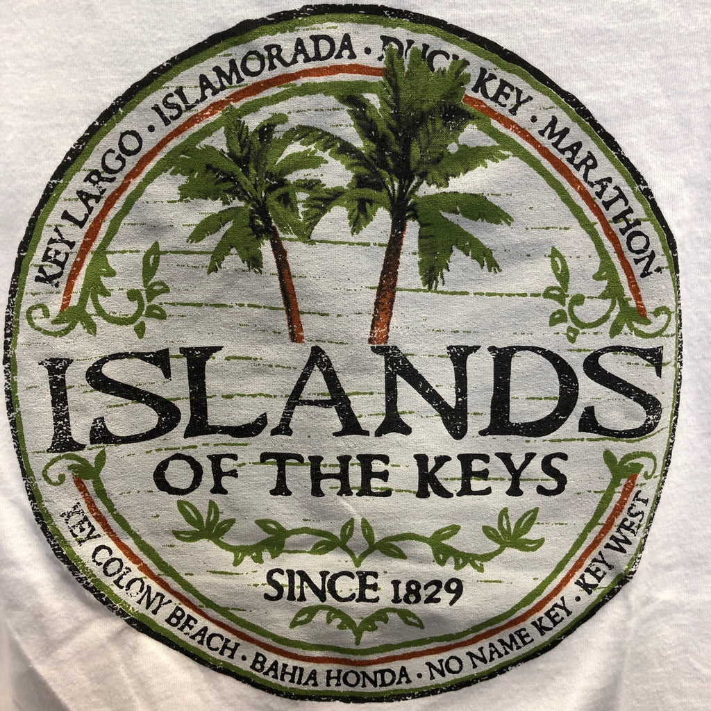 Ladies Islands of the Keys V Neck T-Shirt, White