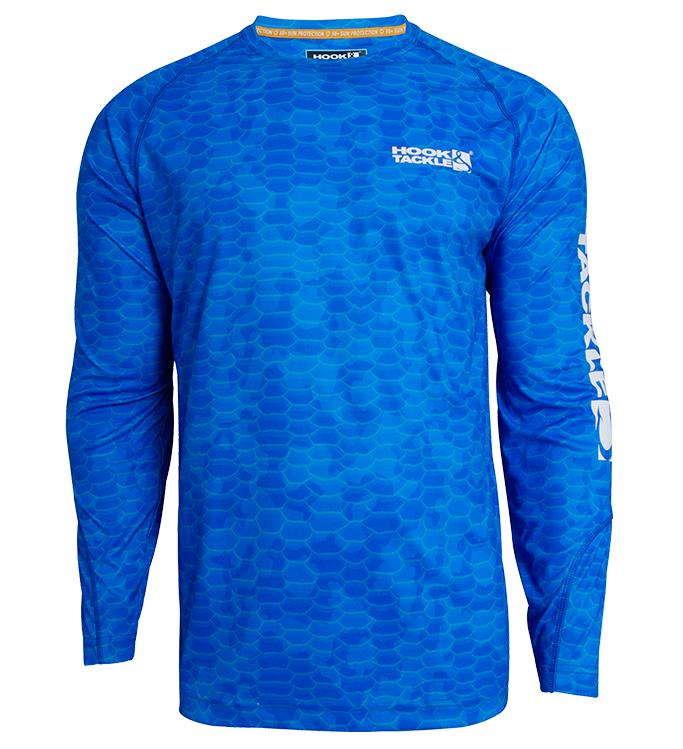 Hook & Tackle Camo Scales Long Sleeve SPF Fishing Shirt, Larimar Blue
