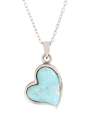 Heart Pendant, Sterling Silver w/ Laimar