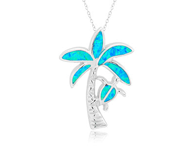 Palm Tree & Turtle Pendant, Sterling Silver w/ Blue Opal