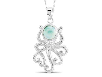 Octopus Pendant, Sterling Silver w/ Larimar