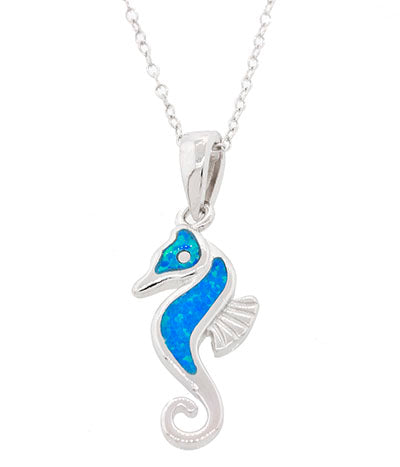 Seahorse Pendant, Sterling Silver w/ Blue Opal