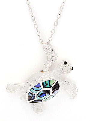 Turtle Pendant, Sterling Silver w/ Abalone