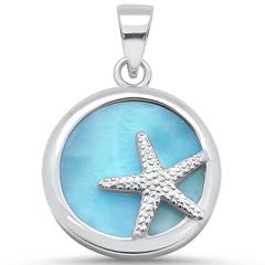 Starfish Disc Pendant, Sterling Silver w/ Larimar