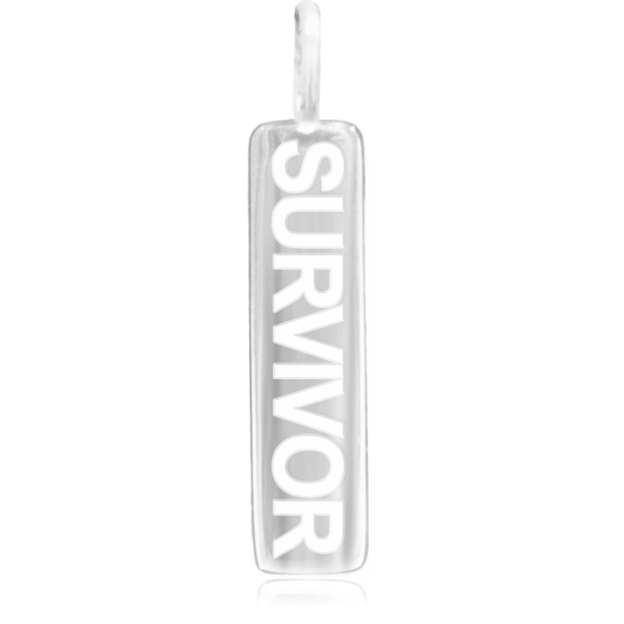 8WB-SURVIVOR | Sterling Silver Pendant – Word Bar SURVIVOR
