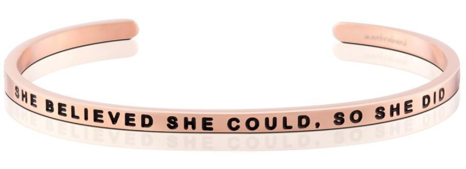 Mantraband Cuff She Believed She Could So She Did, Rose Gold