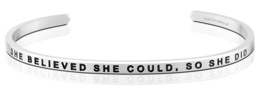 Mantraband Cuff She Believed She Could So She Did, Silver