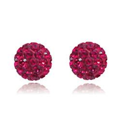 CB1034 | Crystal Ball Stud Earrings - Raspberry