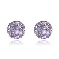 CB1029 | Crystal Ball Stud Earrings - Light Purple Amethyst