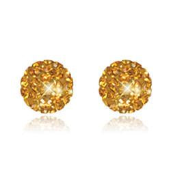 CB1030 | Crystal Ball Stud Earrings - Golden Topaz
