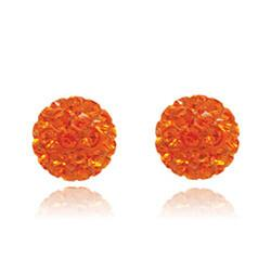 CB1035 | Crystal Ball Stud Earrings - Tangerine