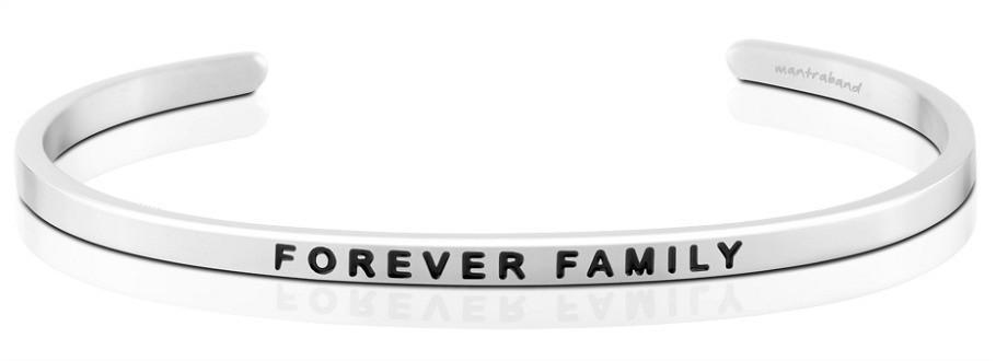 Mantraband Cuff Forever Family, Silver