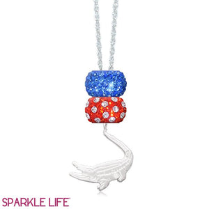 Orange & Blue 2 Sparklie Gator Necklace