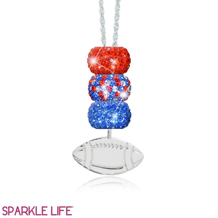 Orange & Blue 3 Sparklie Football Necklace
