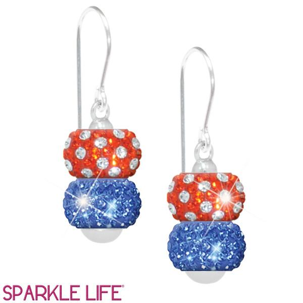 Orange & Blue 2 Sparklie Drop Earrings