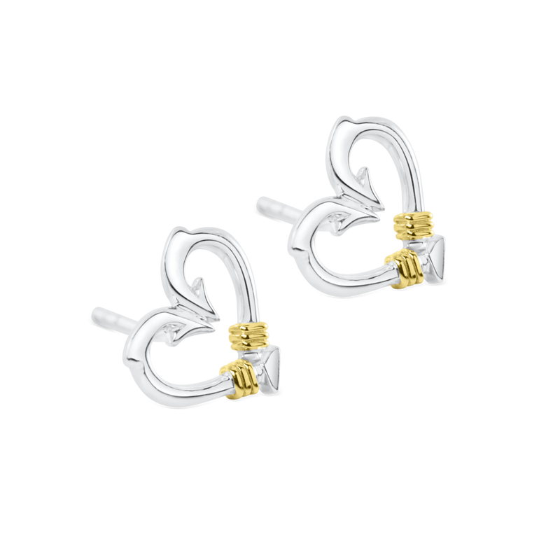 Nauti Girl Heart Hook Stud Earrings