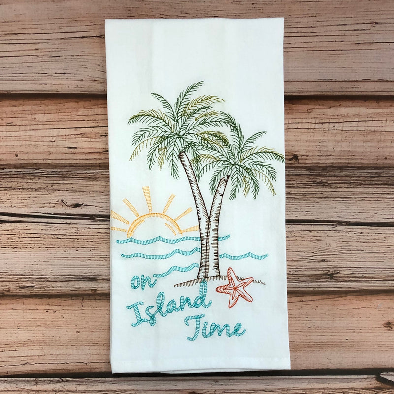 Embroidered Hand Towel, On Island Time