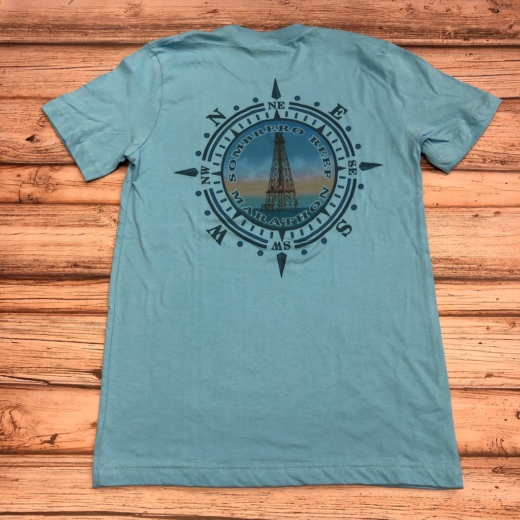Sombrero Reef Lighthouse Cotton Unisex T-shirt, Ocean Blue