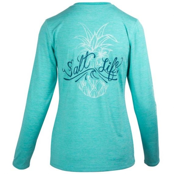 Salt Life Pineapple Performance Tee SPF Long Sleeve, Aqua