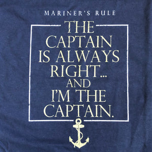 Men's Captain's Rule Captain is Always Right T-Shirt, Navy
