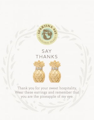 Spartina Gold Post Pineapple Earrings