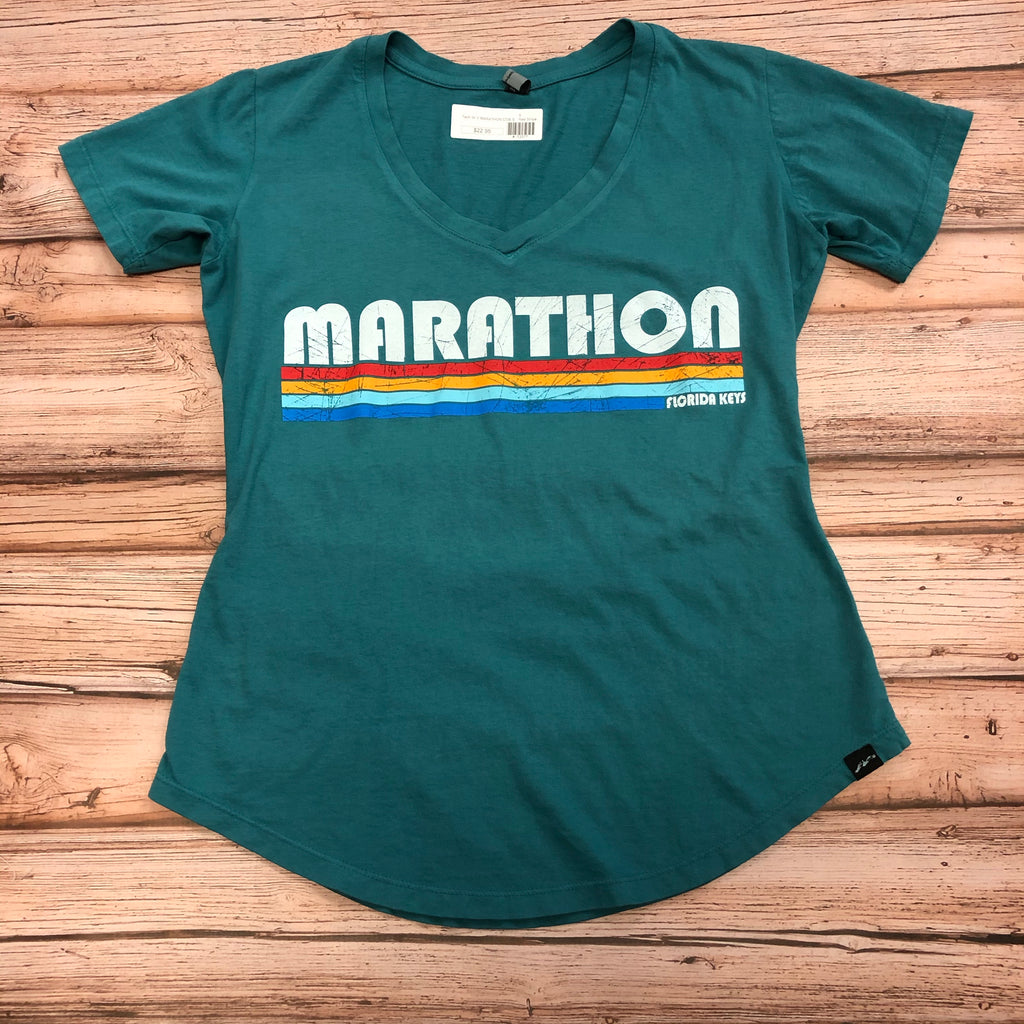 Ladies Marathon Stripes T-shirt, Teal