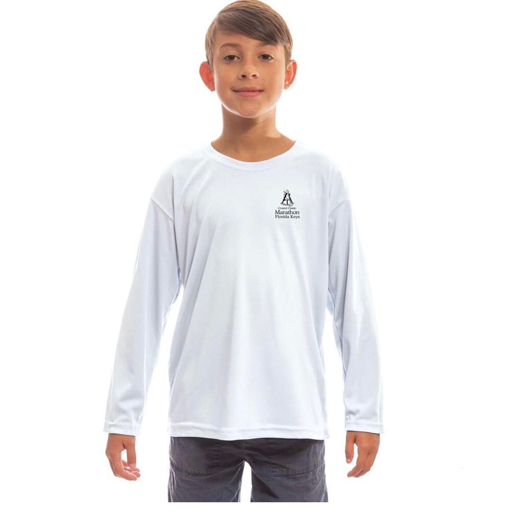 Marathon Chart Long Sleeve SPF Shirt Youth White