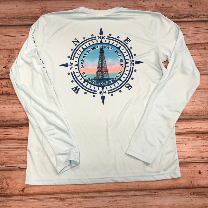 Sombrero Lighthouse Long Sleeve UPF 50+ , Arctic Blue