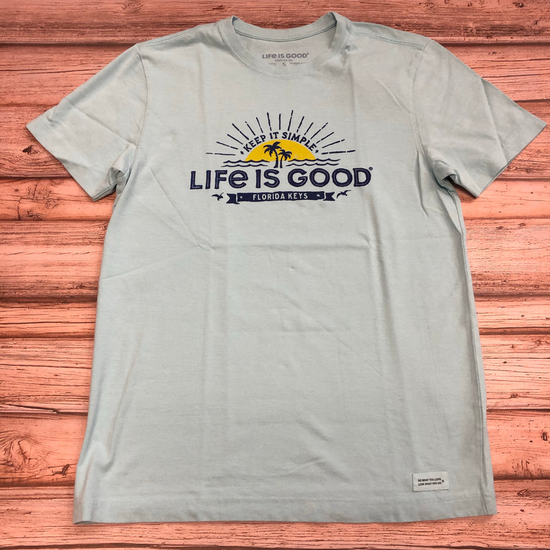 Life Is Good Men's T-Shirt Florida Keys Sunset, Aqua