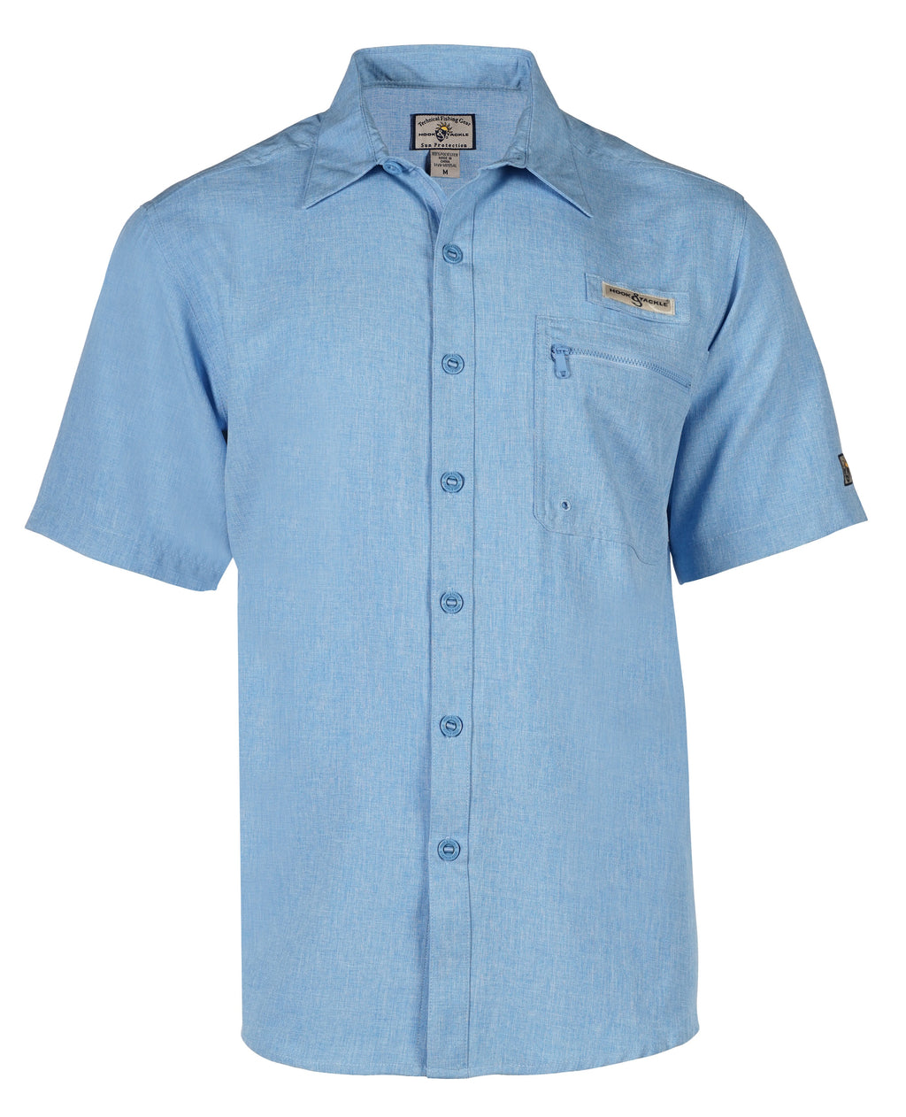 Hook & Tackle Tamarindo Short Sleeve Fishing Shirt, Blue