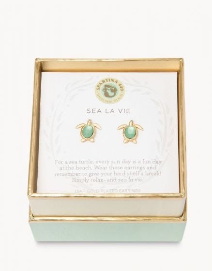 Spartina Gold Post Turtle Earrings