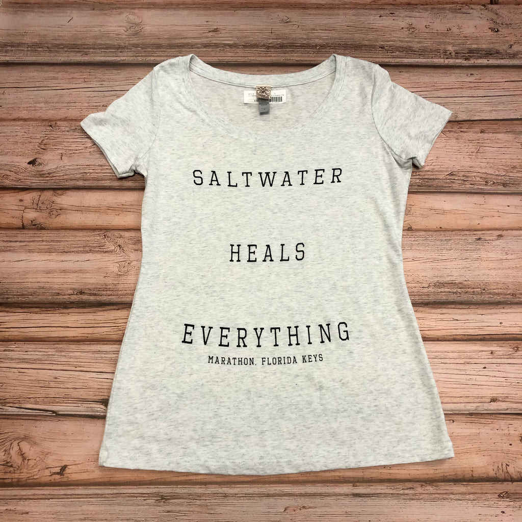 Saltwater Heals Everything T-Shirt, light grey
