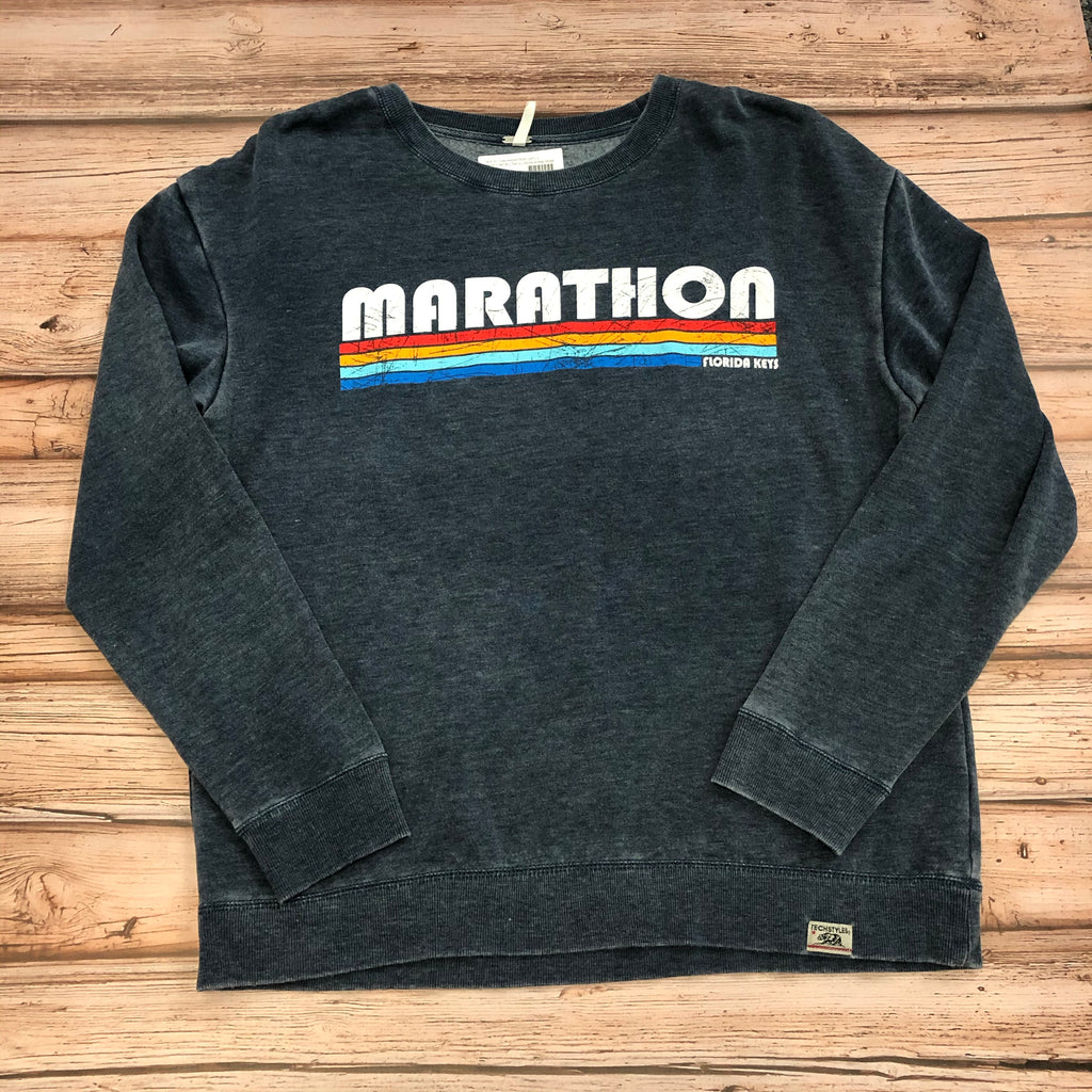 Ladies Marathon Stripes Crew Sweatshirt, Navy