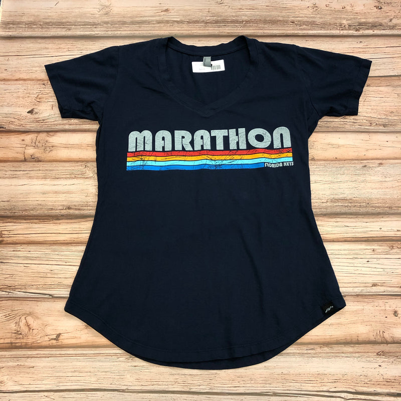 Ladies Marathon Stripes T-shirt, Navy