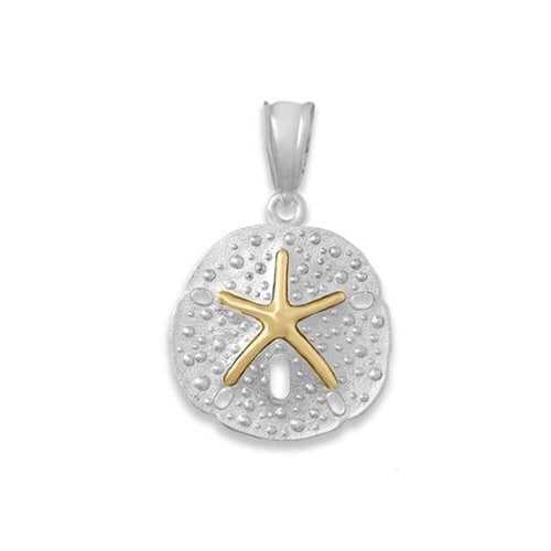 Sand Dollar Pendant, Sterling Silver w/ 14k Gold