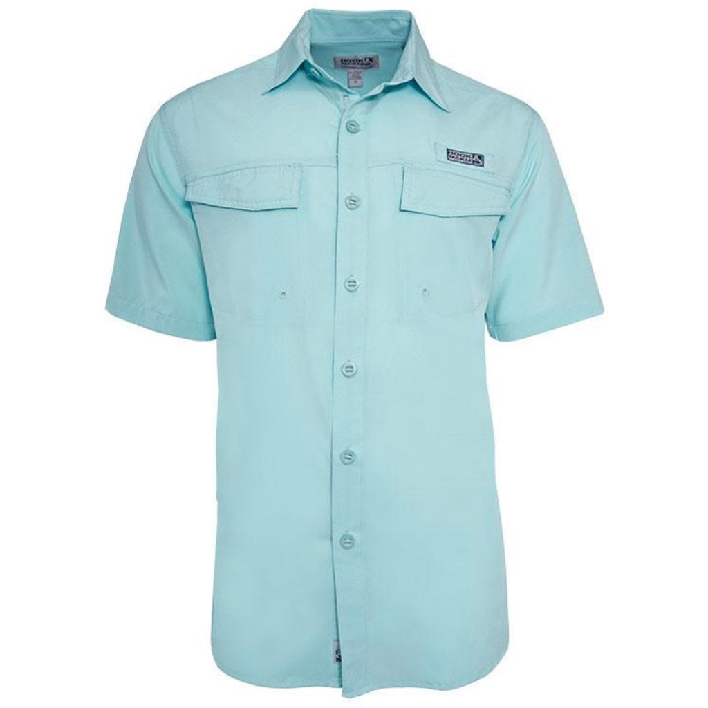 Hook & Tackle Coastline Short Sleeve Fishing Shirt, Aqua Beach Glass
