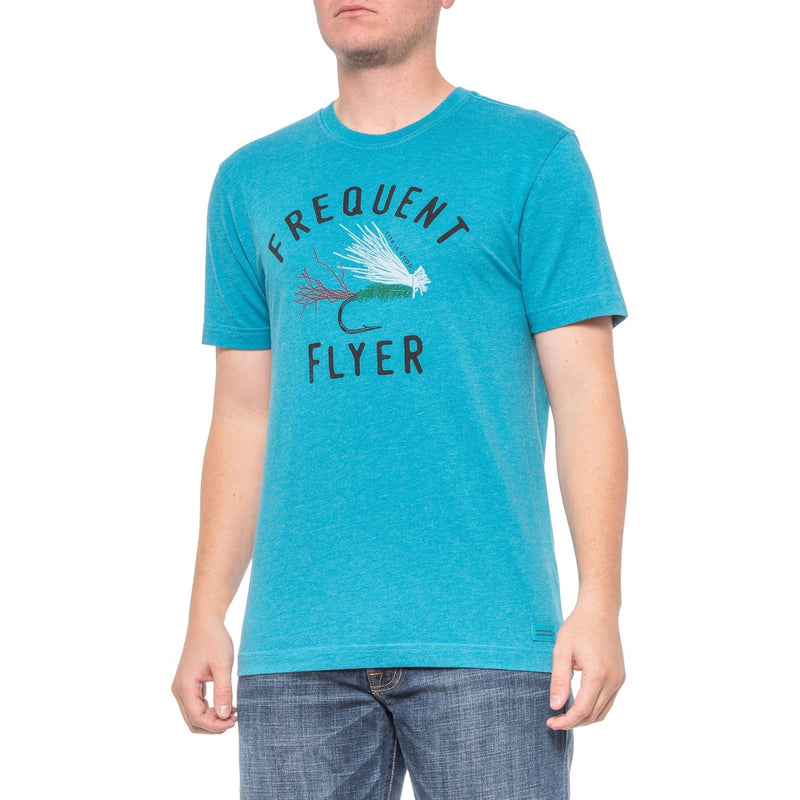 Life Is Good Men's T-Shirt Frequent Flyer, Turquoise