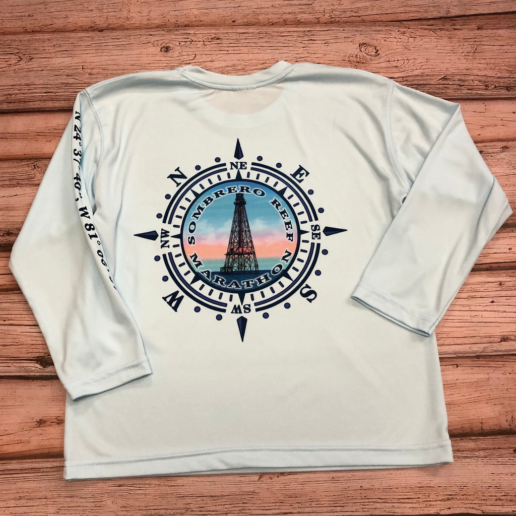 Sombrero Lighthouse Long Sleeve SPF Shirt Youth Unisex Arctic Blue
