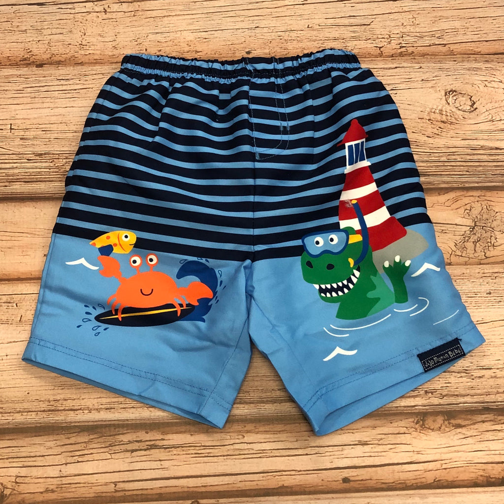 JoJo Blue Stripe Sea Swim Shorts w/ Built in Diaper