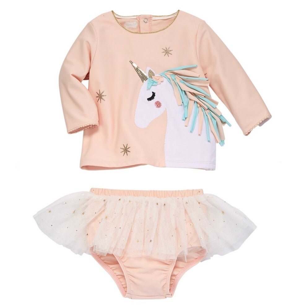 Mud Pie Unicorn Rash Guard Set