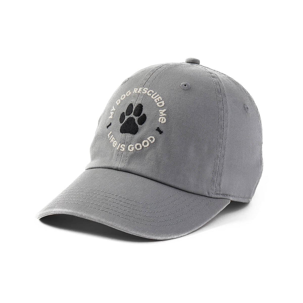 Life is Good Chill Cap Hat My Dog Rescued Me, Grey